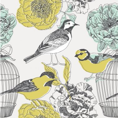 Birds and flowers. seamless pattern