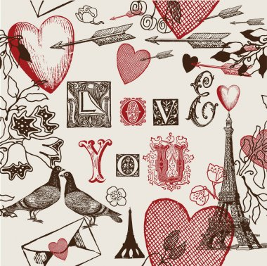 Assorted illustration of valentine symbols