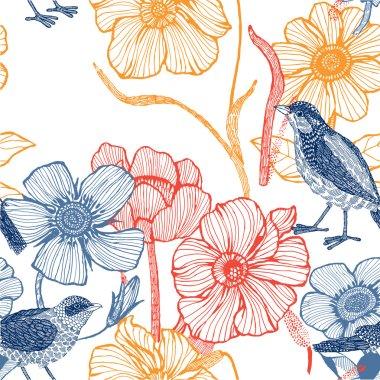 Illustration of flowers, bird