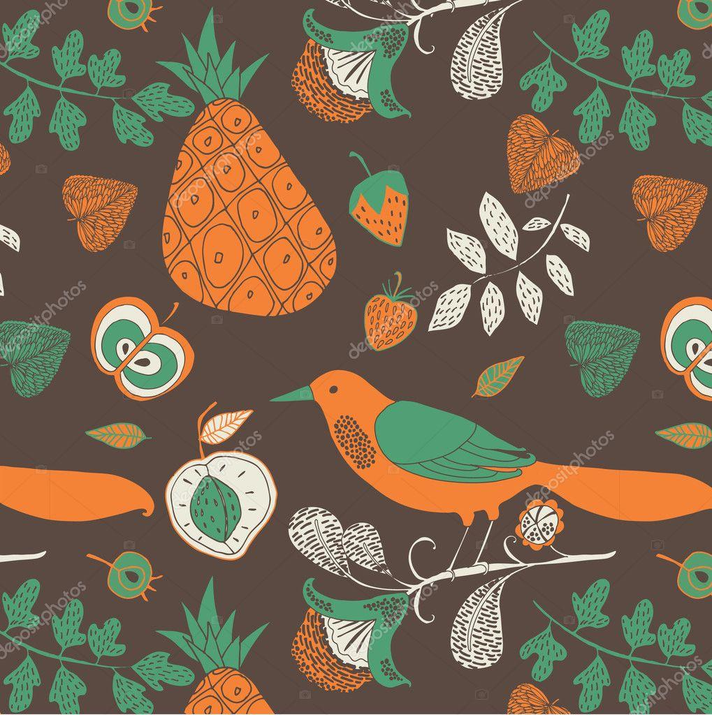 Illustration of fruits, twigs, birds