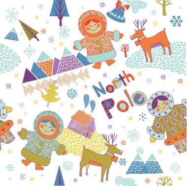 Colorful Eskimos and reindeer on north pole