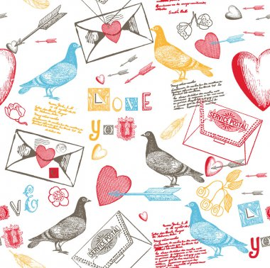 Colorful pigeons and letters pattern - love letters concept clip art vector