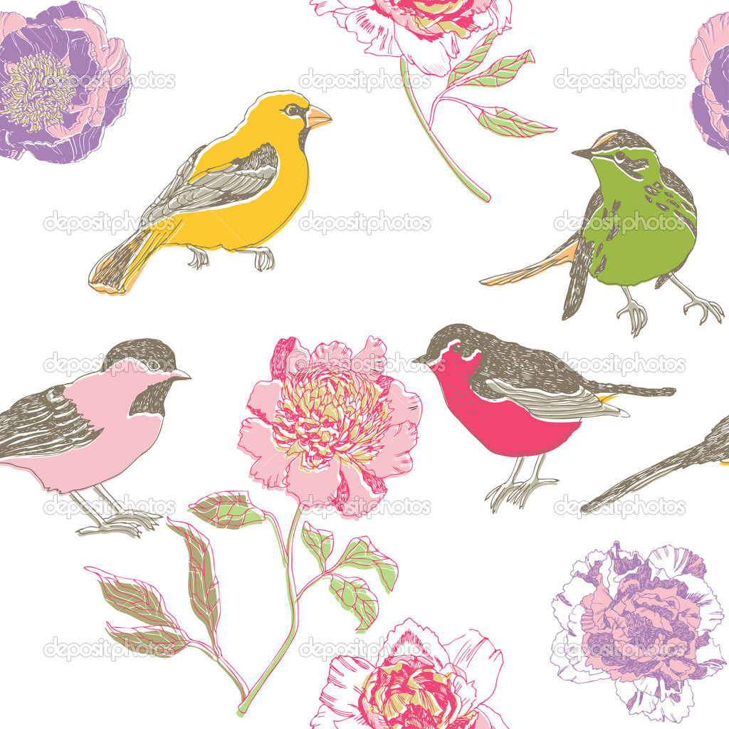 Colorful birds and flowers pattern