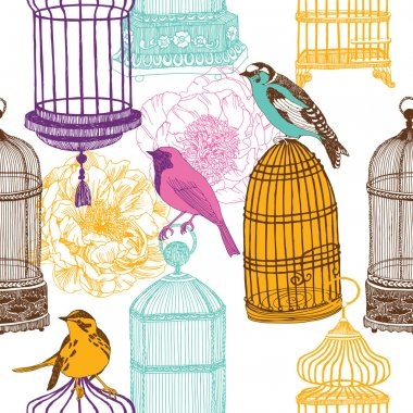 Colorful birds and various cages