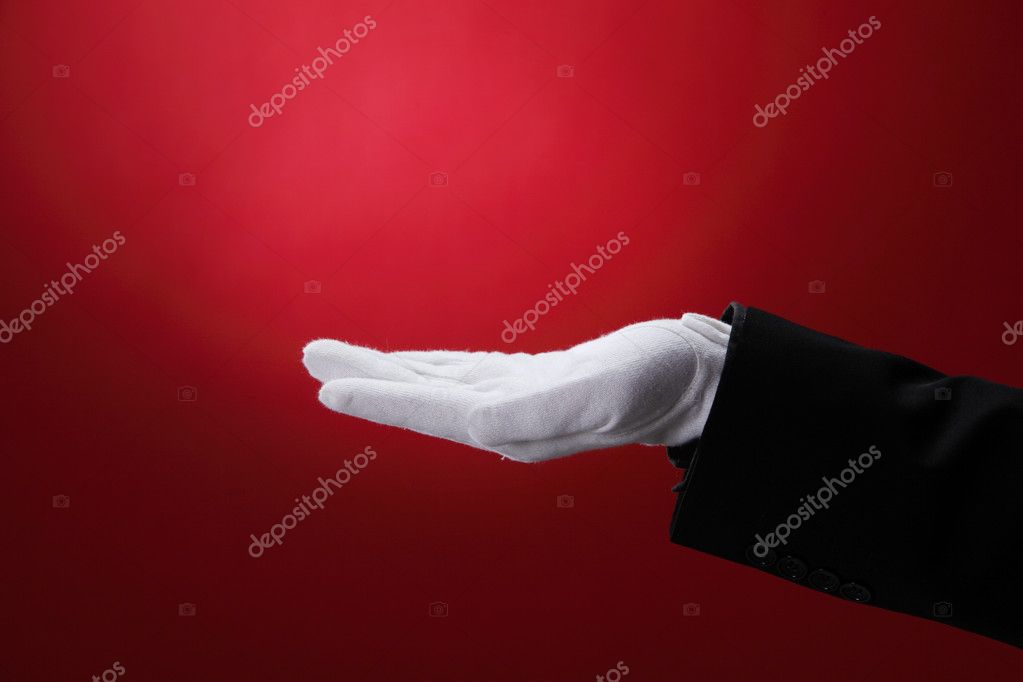 Side view of the hand with white glove