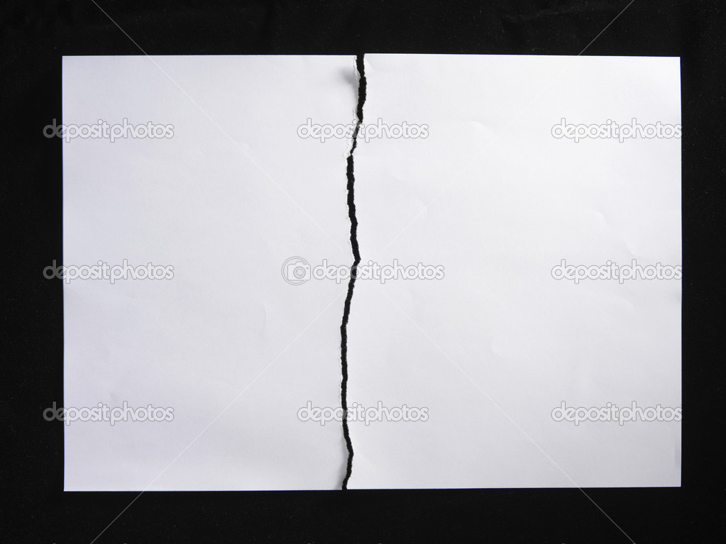 Torn or tearing paper into two pieces ⬇ Stock Photo, Image ...