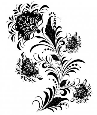 Black and white flowers isolated on white.