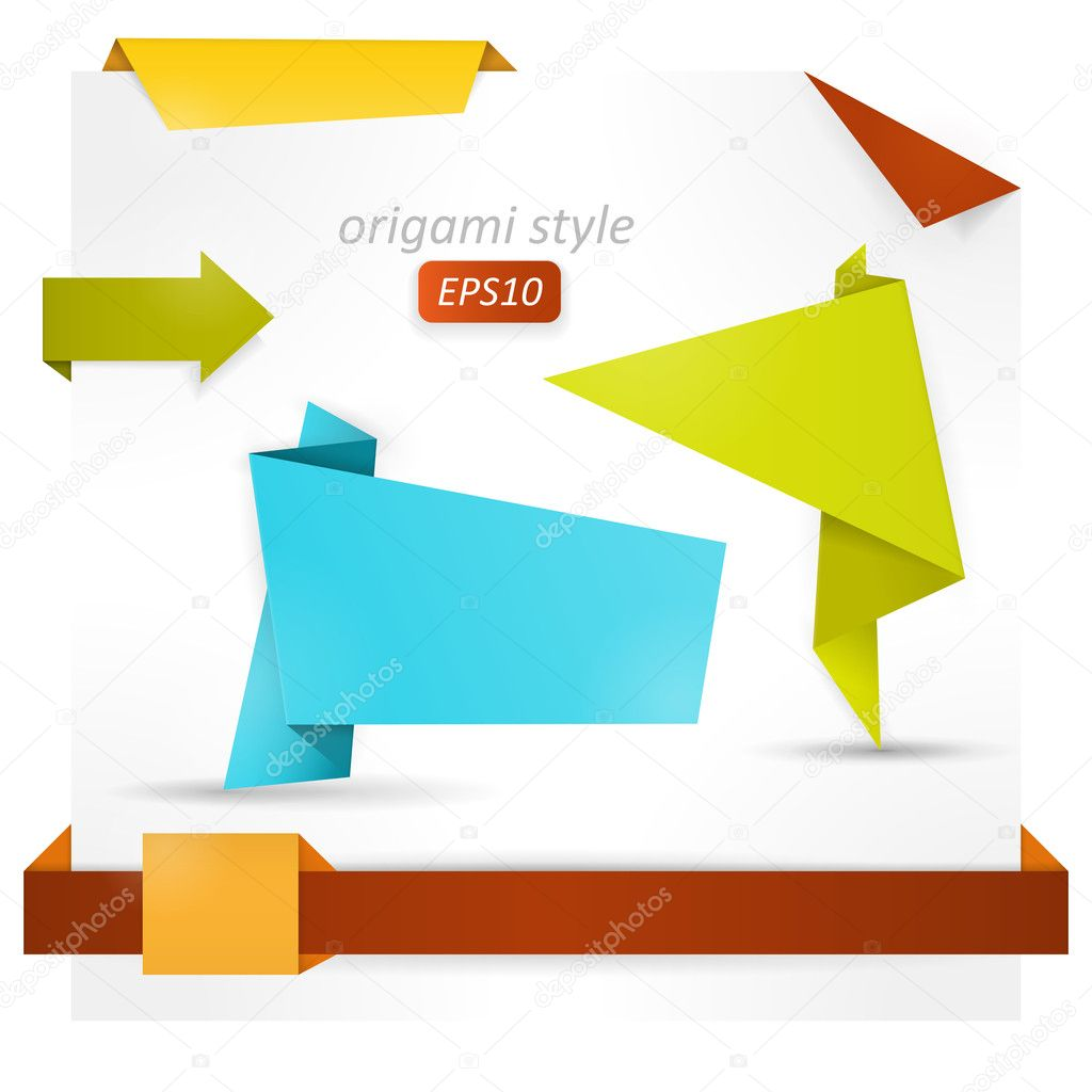 Origami style speech banner, paper shapes — Stock Vector ... - photo#47