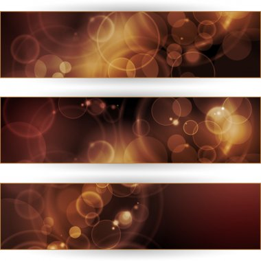Set of sepia tone bokeh banners
