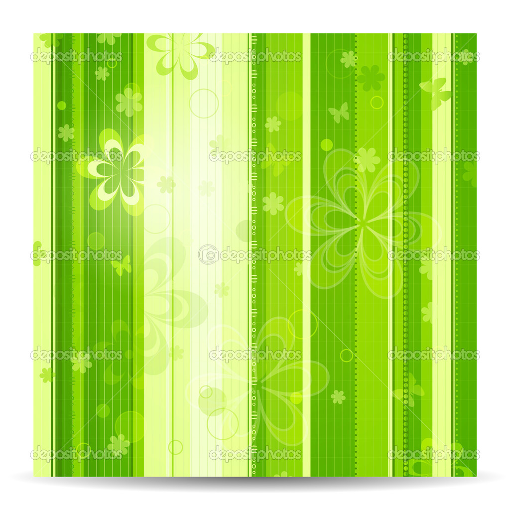 Stripy floral green spring background