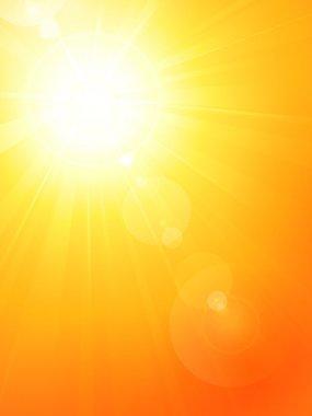"""Картина, постер, плакат, фотообои """"оживленное горячее летнее солнце со вспышкой линзы"""", артикул 9461020"""