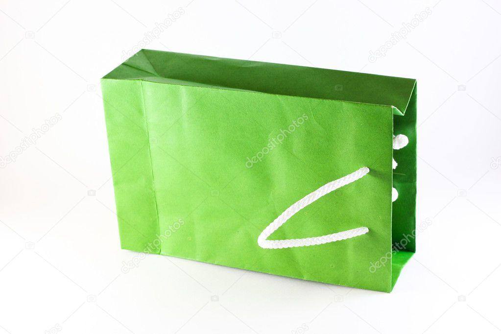 De Papieren Zak : De groene papieren zak u stockfoto mooboyba
