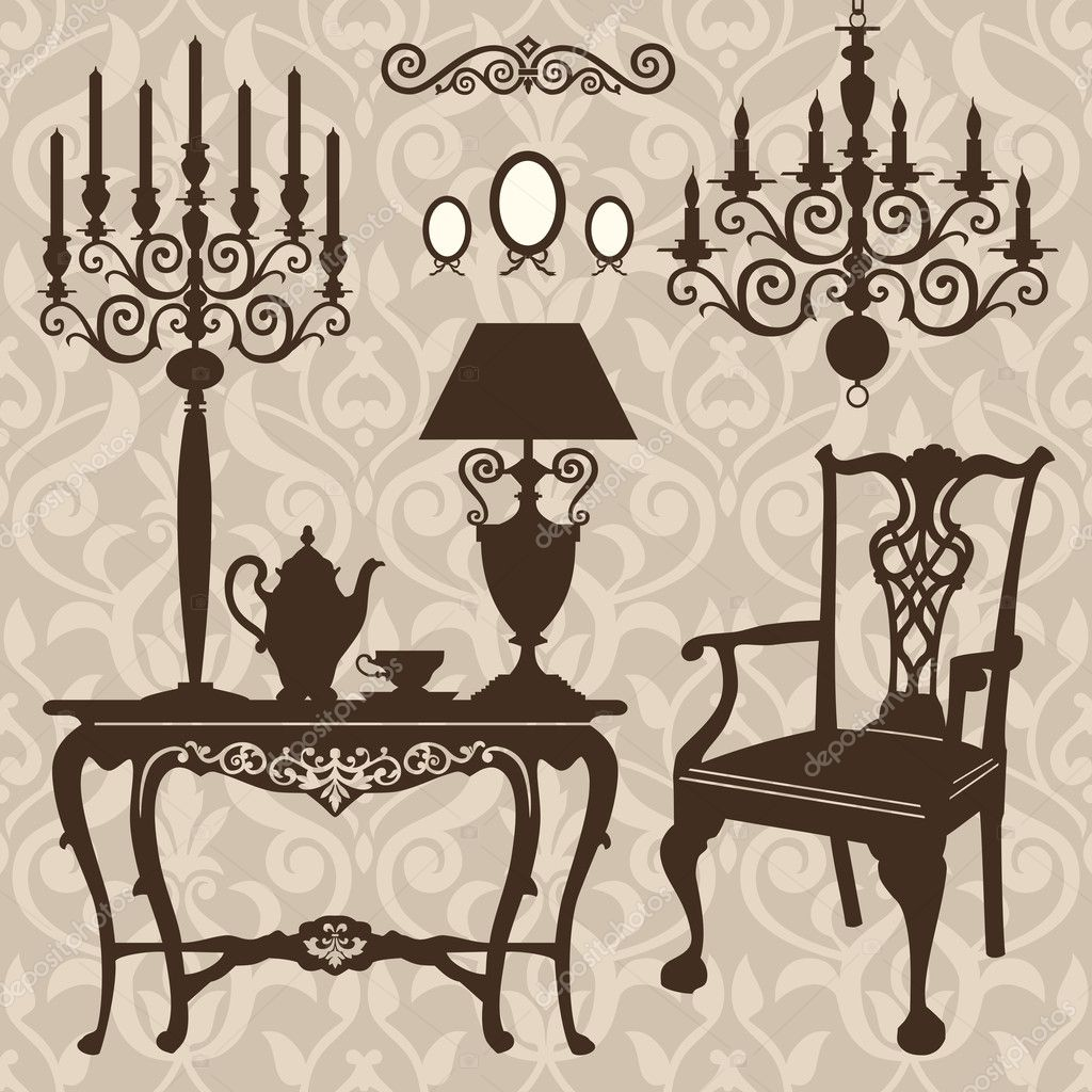 Antique chair silhouette - Antique Decorative Furniture Collection Brown Silhouettes For Your Design Vector Illustration Vector By Elakwasniewski