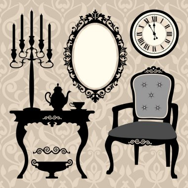 Vector illustration of antique furniture collection clip art vector