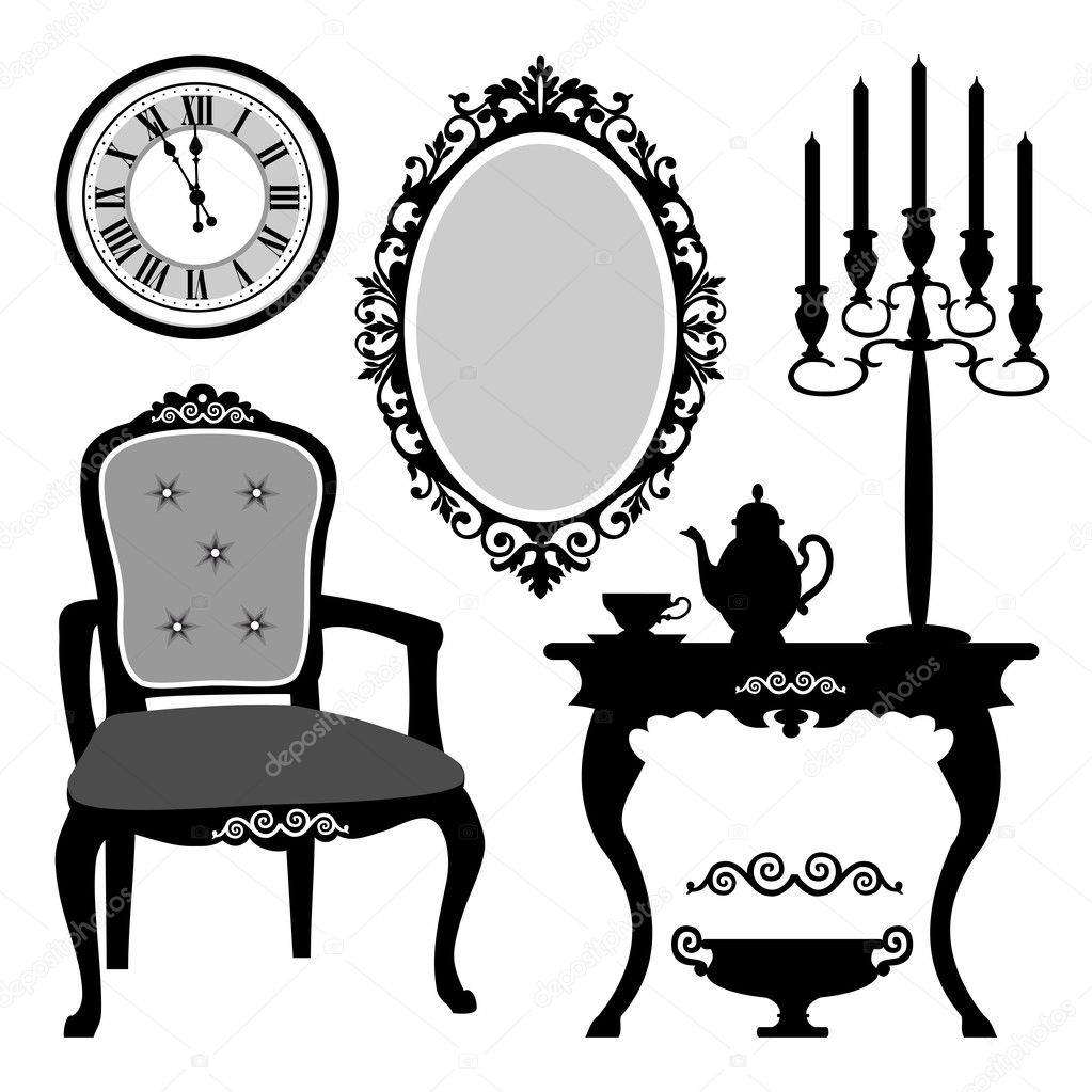 Antique chair silhouette - Antique Interior Objects Stock Vector