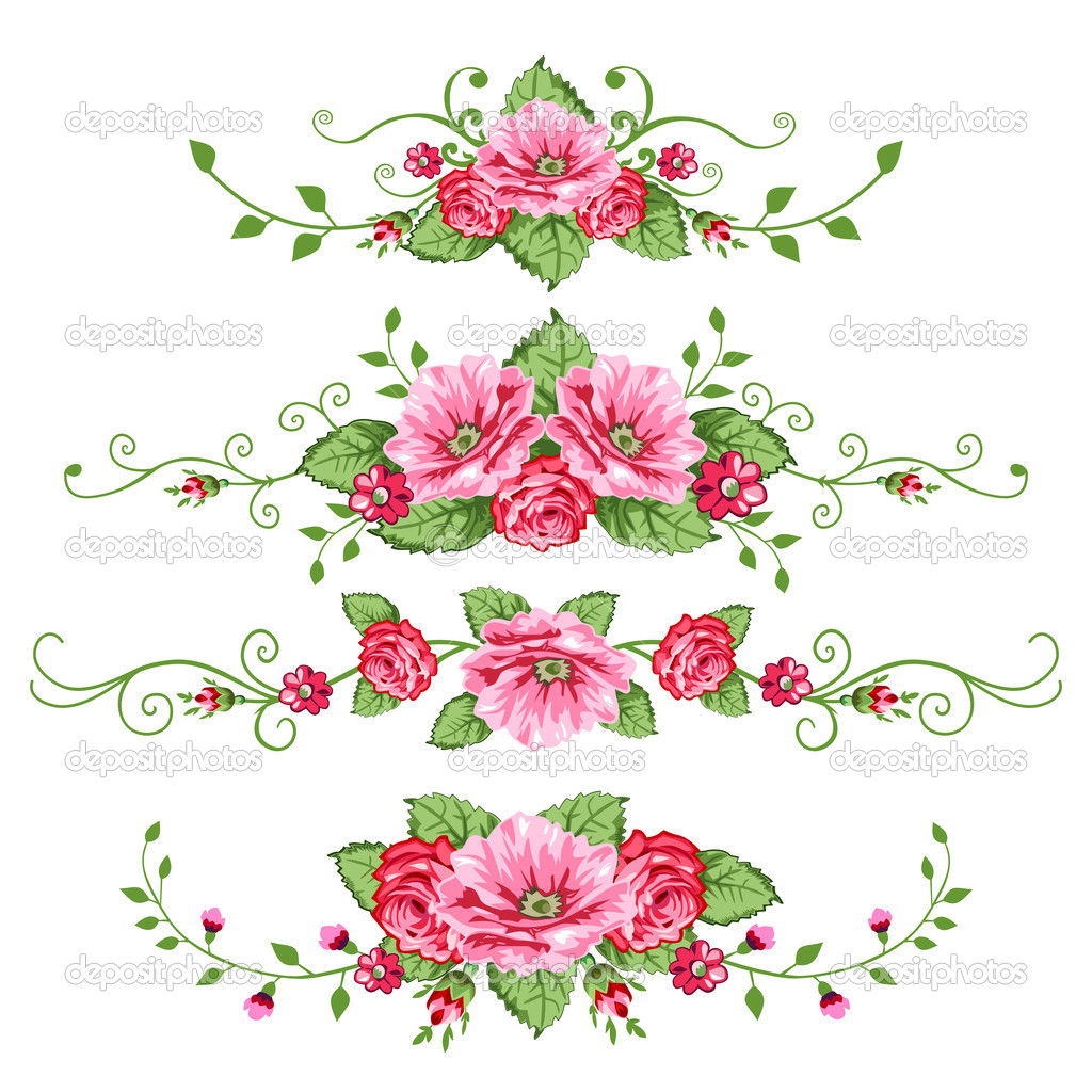 Set of roses banners