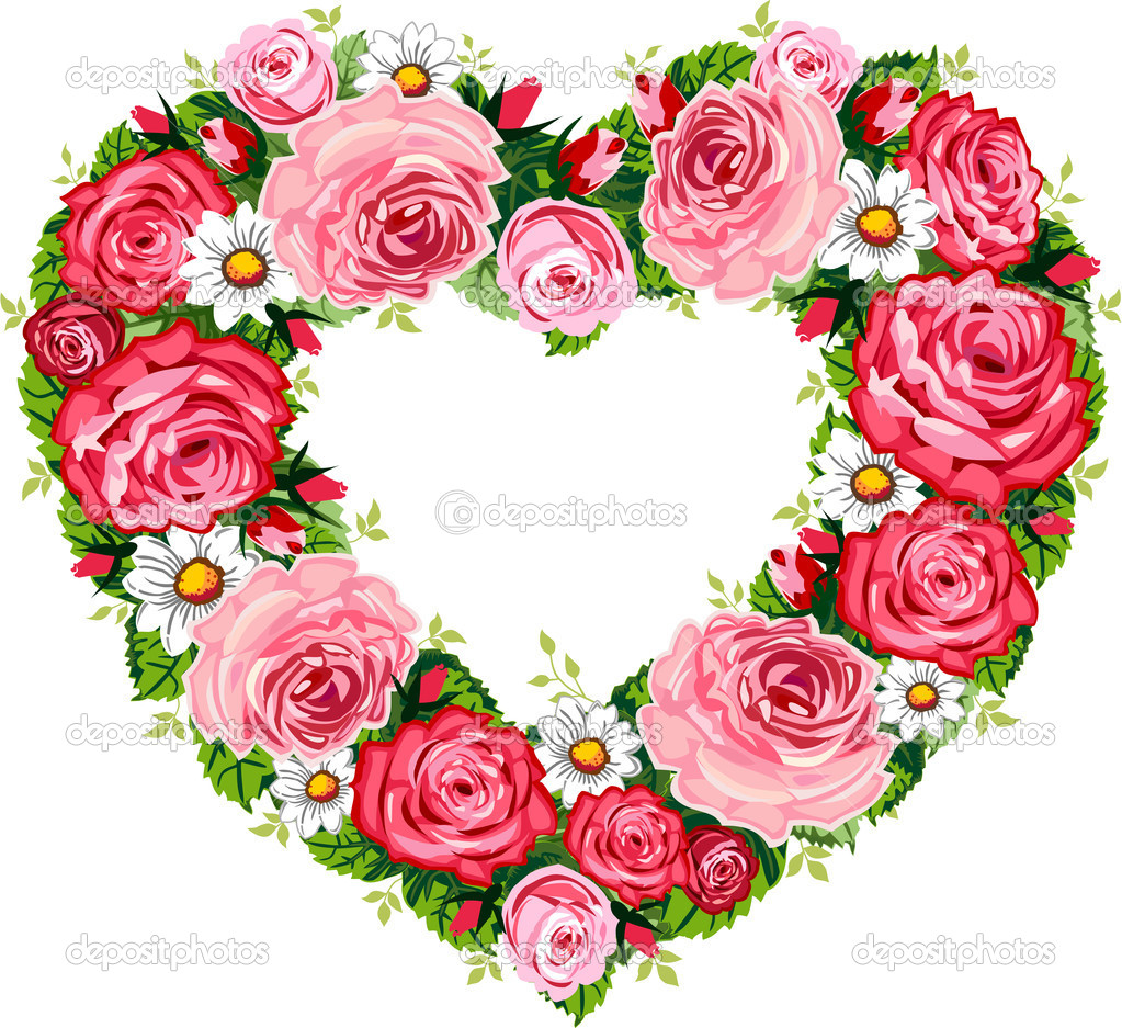 Heart roses frame