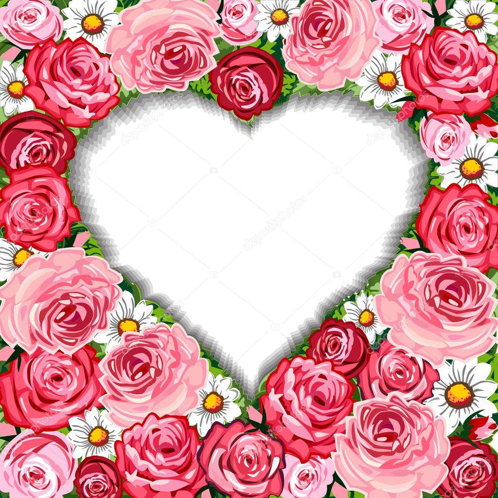 marco de fondo y corazón de rosas — Archivo Imágenes Vectoriales ...