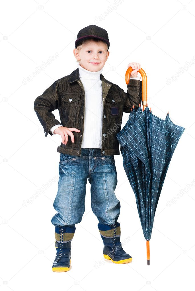 Smiling boy standing with umbrella isolated on white background