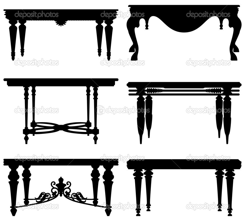 Antique chair silhouette - A Set Of Table Design In Silhouette Vector By Leremy