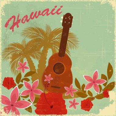 Vintage Hawaiian postcard - invitation to Beach party - vector illustration clip art vector