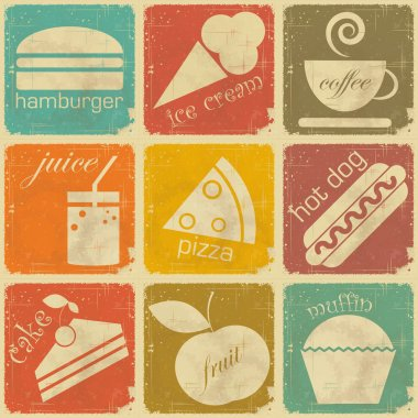 Set of vintage food labels