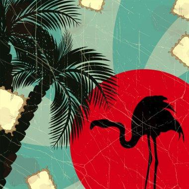 Retro blue tropical background with flamingo
