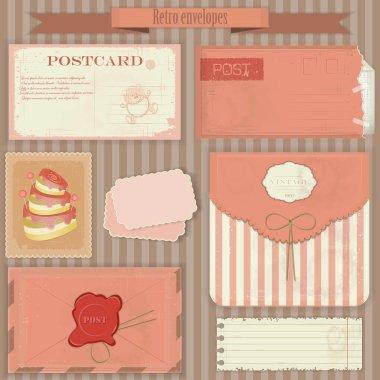 Vintage post set - Retro envelopes and postcards - vector illustration clip art vector