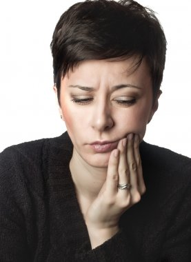 Beautiful woman having toothache