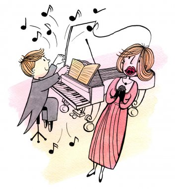 The young pianist and a singing woman