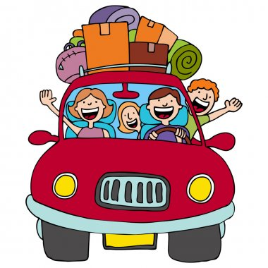 An image of a family driving in their car with luggage on top. stock vector