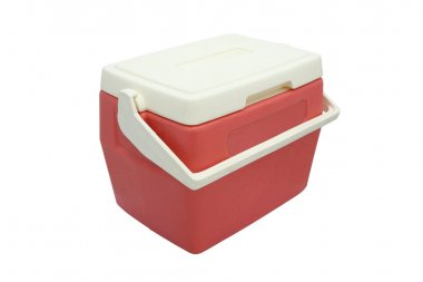 Plastic cooler box closed cover on white background.