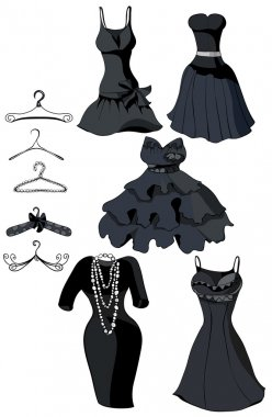 Set of little black dresses and coat racks