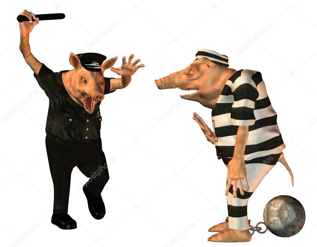 Flic en col re avec un cochon de dessin anim de prisonnier photographie digitalartb 9057612 - Dessin d un cochon ...
