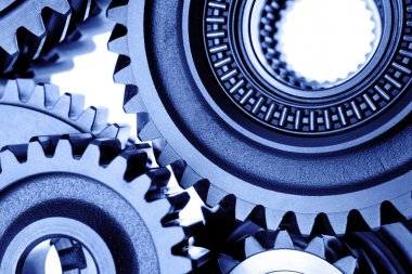 Closeup of steel cogs together