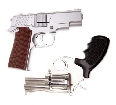 Two handguns on plain background stock vector