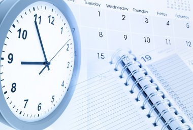 Clock face, calendar page and diary