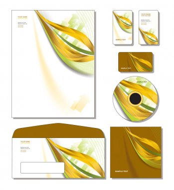 Corporate Identity Template Vector - letterhead, business and gift cards, c