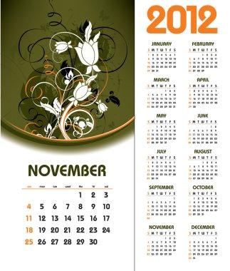 2012 Calendar. November.