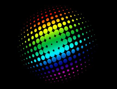 Halftone circle with rainbow colors