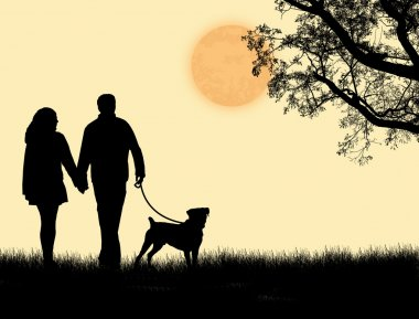 Silhouette of a couple walking their dog on sunset, vector illustration clip art vector