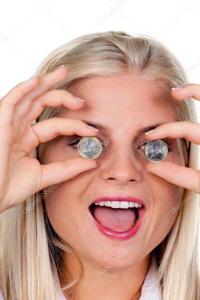 Frau Mit Münzen Vor Den Augen Euro Münze Stockfoto Ginasanders