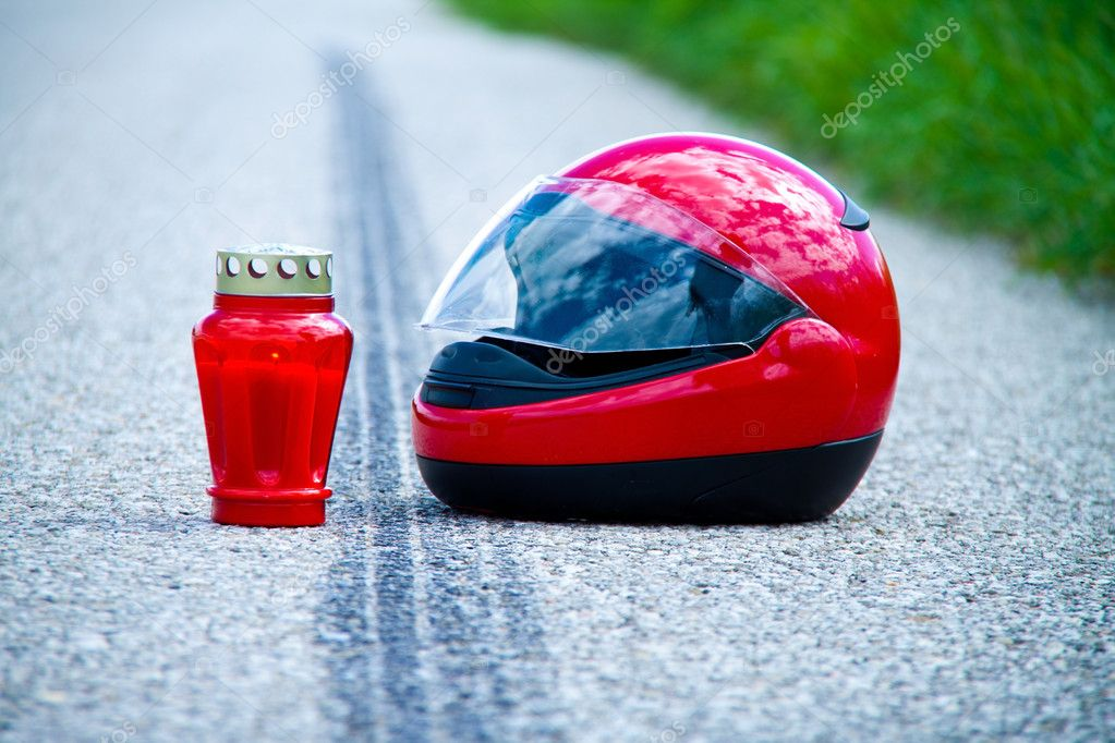 Accident with a motorcycle  traffic accidents with skid