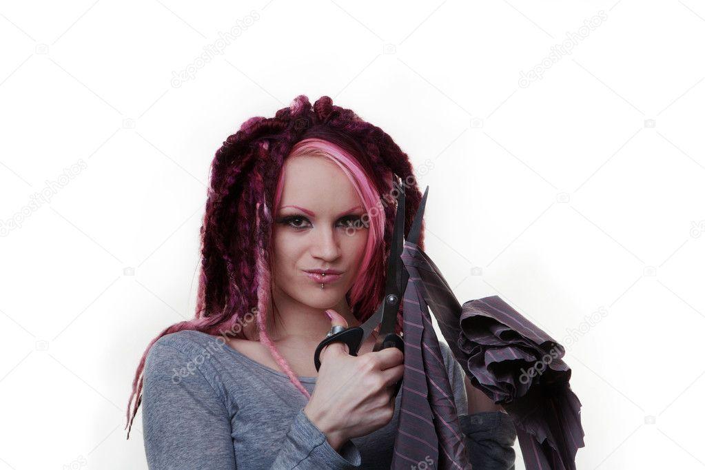 Portrait of woman with dreadlocks hair
