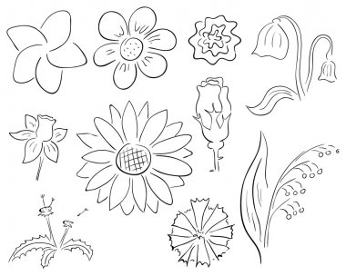 Vector primitive black and white contour flowers collection stock vector