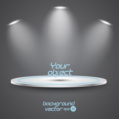 Bright stage with spot lights. Vector eps 10
