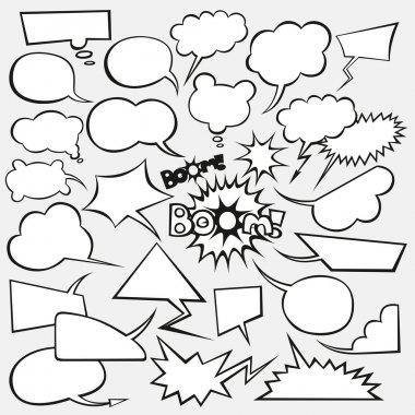 Vector set of comics style speech bubbles clip art vector