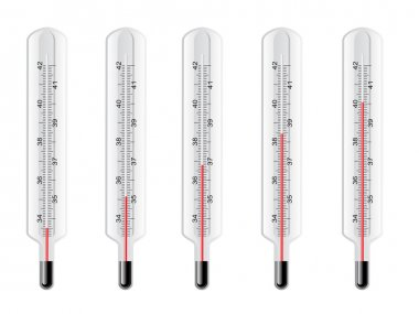 Vector thermometers at different levels clip art vector