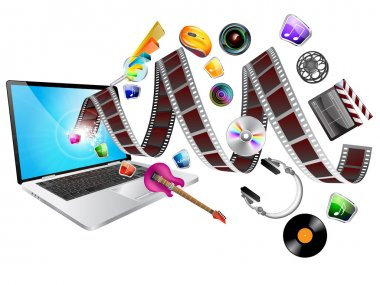 Movie and entertainment icons with laptop stock vector