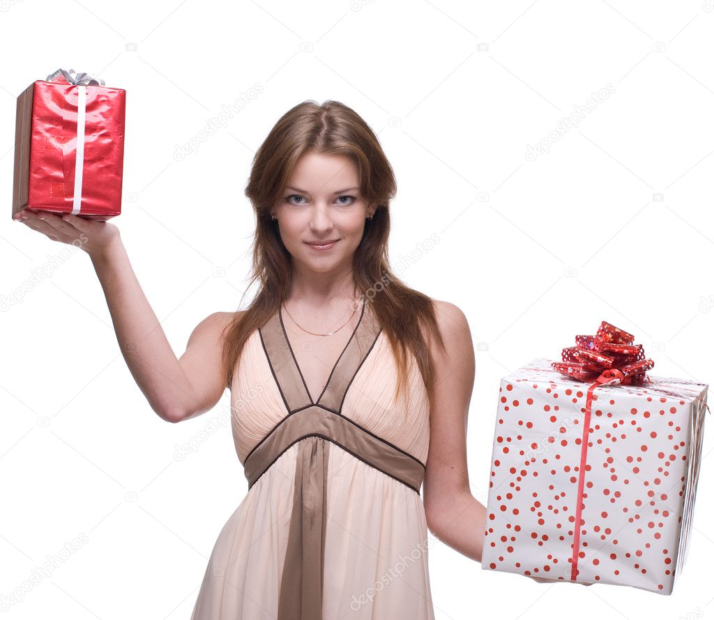 Beautiful girl with two gifts